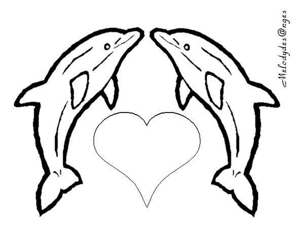 Coloriage 2dauphins coeur coloriage de coeur - Desin de coeur ...